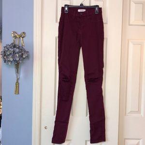 Vibrant M.I.U cranberry skinny lightweight jeans
